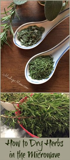 A quick and easy way to dry herbs in the microwave! Use this method to preserve garden herbs or leftover fresh herbs you pick up for a recipe.