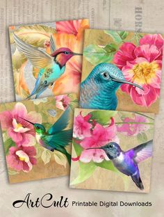 Preschool Crafts That Are Simple And Fun Mini Canvas Art, Bird Artwork, Arts And Crafts Projects, Fabric Painting, Beautiful Birds, Painting Inspiration, Watercolor Art, Art Drawings, Decoupage