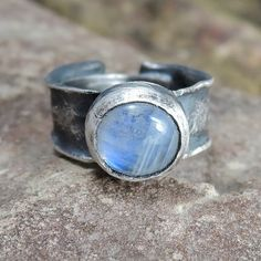 crude moonstone in silver moonstone ring by ZofiaGladysz on Etsy