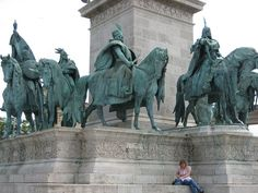 Statues in Heroes Square, Budapest.
