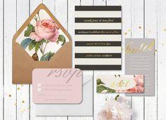Stripes, roses, and gold invitations. Feminine!