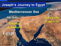 Photo map showing Joseph's journey to Egypt.