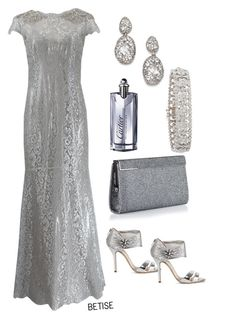 """""""IN GRAY ..!!"""" by betty-sanga ❤ liked on Polyvore featuring Oscar de la Renta, Jimmy Choo, Cartier, Alexis Bittar and Marchesa"""