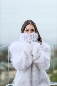 New White Fluffy Mohair Sweater Turtleneck knit sweater | Etsy Merino Wool Sweater, Wool Sweaters, Wedding Skirt, Red T, Flower Skirt, Winter Tops, Turtleneck, Jumper, Warm