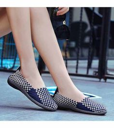 Women's #navy casual #SlipOn shoe sneakers check design, weave, casual, leisure, summer occasions.