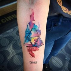 Watercolor Triforce tattoo done by @jackson_tatuador. To submit your work use the tag #gamerink And ...