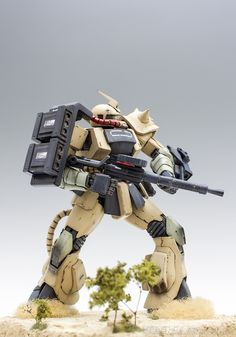 GUNDAM GUY: MG 1/100 MS-06D Zaku II Desert Type - Diorama Build