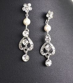 Wedding Rhinestone Earrings Floral Pearl by OliniBridalJewelry, $35.00
