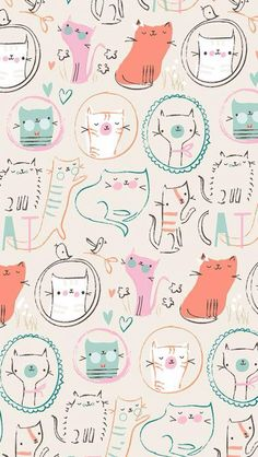 New Cat Wallpaper Pattern Design Kitty Ideas Gatos Wallpapers, Wallpaper Gatos, Cat Wallpaper, Iphone Wallpaper, Cat Pattern Wallpaper, Surface Pattern Design, Pattern Art, Textures Patterns, Print Patterns