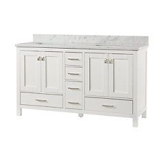 Franklin Square Collection 60 Inch Bathroom Vanity In White With