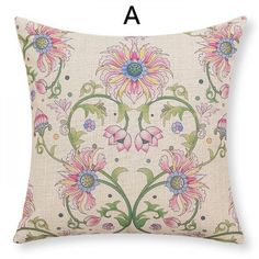 Pink flowers throw pillows for couch green vine print sofa cushions cheap