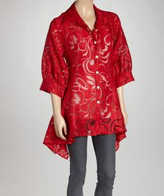 Another great find on #zulily! Red Sheer Swirl Sidetail Jacket by Come N See #zulilyfinds