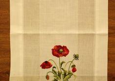 Obrus vyšívaný DM-9016 - DIVÝ MAK (40x135 cm) - červeno-biely veľkosť 40x135 cm Napkins, Towels, Dinner Napkins