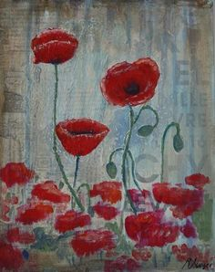 Poppies of Picardy By Rowan Sivyer. Collage and Acrylic on Canvas