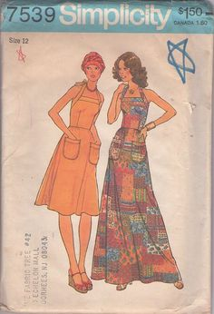Simplicity 7539 Vintage 70's Sewing Pattern KILLER Boho Pouch Pocket Halter Top Sun Dress, Maxi Gown #MOMSPatterns