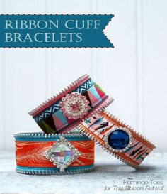 Ribbon Cuff Bracelets - by Flamingo Toes for the Ribbon Retreat Bracelet En Cuir Diy, Diy Leather Bracelet, Leather Jewelry, Cuff Bracelets, Zipper Crafts, Ribbon Crafts, Sewing Crafts, Diy Crafts, Textile Jewelry