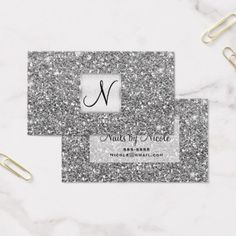 Silver Glitter Chic Glam Glitzy Salon Spa Business Card - stylist business card business cards cyo stylists customize personalize