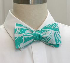 "Men's Bow Tie in turquoise and white Lilly ""King Conch"". , via Etsy."