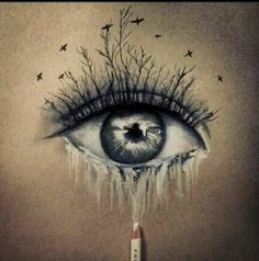 beautiful blue grey eyes/ black birds and trees that cry/ she's got a storm in her eyes/ she's a waterfall at night