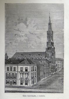 Arnhem-St. Eusebe Kerk |  Graphic         : Wood Cut From             : La Hollande par Depelchin Size Picture  : 12 x 19 cm   Year              : + 1881 Edit               : Alfred Mame et Fils Printed text on reverse.