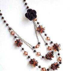 Sweet Style Beads and Rose Embellished Multi-Layered Sweater Chain, COFFEE in Necklaces | DressLily.com