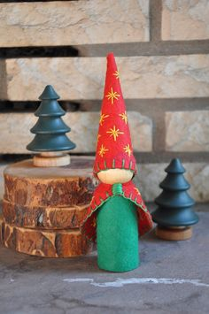 Wooden and Wool Felt Christmas Tree Gnome– A Waldorf and Montessori Inspired Holiday Toddler Toy, Wooden Peg Doll