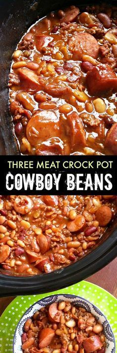 Three Meat Crock Pot Cowboy Beans ~ BBQ beans with smoked sausage, bacon and ground beef made easy in the crock pot! Crock Pot Recipes, Crockpot Dishes, Crock Pot Slow Cooker, Crock Pot Cooking, Bean Recipes, Slow Cooker Recipes, Cooking Recipes, Crockpot Meat, Crock Pot Beans