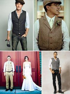 ♥ vintage waistcoat groom I like this idea. Casual yet natty.