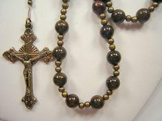 Men's Rosary XLong Catholic  Gemstone Necklace by TheGemBeadLink