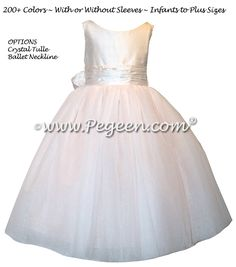 Champagne Pink Silk flower girl dresses with Ballet Neckline - Style 402 White Silk, Pink Silk, Blush Pink, Cotillion Dresses, Pink Flower Girl Dresses, Boys Suits, Communion Dresses, Custom Dresses, Silk Flowers