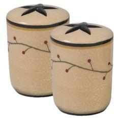 Star Vine Salt & Pepper Set by Park Designs, Star with Vine & Pip Berry Motif