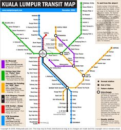 Kuala Lampur transit map, we should buy the touch'n'go pass. We also need to remember not to fly with Airasia, they fly into a different terminal than the one we want to take a train to the city center. Kuala Lumpur Map, Kuala Lampur, Kuala Lumpur Travel, Malaysia Travel Guide, Malaysia Trip, Train Map, Metro Map, Subway Map, Rapid Transit