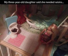 Barbie playhouse with raisins in toilet