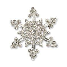 Silver-Tone Crystal Snowflake Pin - Crystal, Silvertone, Snowflake http://designerjewelrygalleria.com/1928-jewelry/1928-pins/silver-tone-crystal-snowflake-pin/