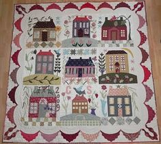 Home Sweet Home: love the scrappy swag border...not really an album quilt, but I really like the border for an album quilt.