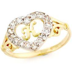 14k Gold Heart Shape Letter 'K' Initial CZ Ring Jewelry