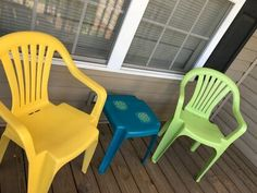 Has your outdoor furniture seen better days? Check out this easy DIY face lift idea and learn how to paint your old dirty plastic chairs to give them new life. Patio Furniture Makeover, Chair Makeover, Hanging Swing Chair, Swinging Chair, Upcycled Furniture, Outdoor Furniture, Simple Bed Frame, Plastic Chairs, Wooden Side Table