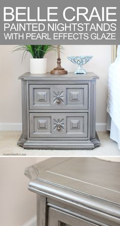 painted nightstands with pearl effects glaze