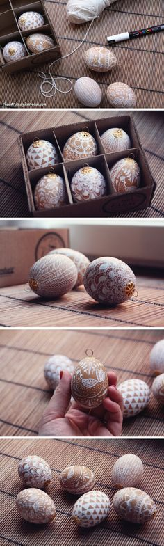 Hand painted easter eggs by Caroline Johansson. I love the hangers on top…