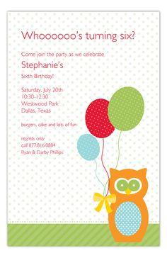 Birthday Owl Invitation