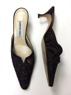 Vanessa Noel 38.5 7.5/8 Pony Brown Leather CutOut Kitten Heels Mules Slides Pump #VanessaNoel #KittenMulesHeels