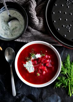 This delicious borscht is the perfect winter soup. It is so easy to make but the dill horseradish yogurt on top takes it to the next level.