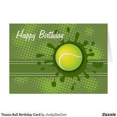 Tennis Ball Birthday Card Oct 1 2017 - @zazzle #junkydotcom  2x