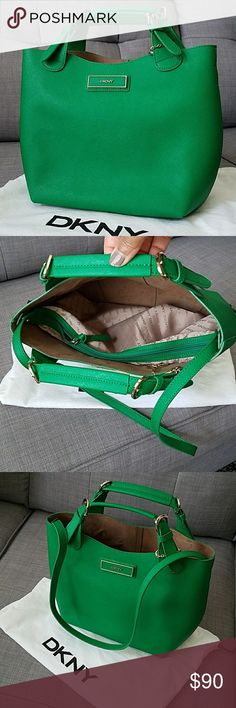 "DKNY Green Handbag With dust cover. Excellent condition. Gold trim handles with additional 13"" drop strap handle.  13"" wide by 10"" tall. Open top handbag with removable inside zippered pouch. DKNY Bags"