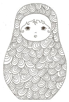 Matryoshka colouring in for adults Coloring Pages For Grown Ups, Coloring Book Pages, Coloring Sheets, Zentangle, Doodle Coloring, Matryoshka Doll, Russian Art, Digi Stamps, Art Plastique