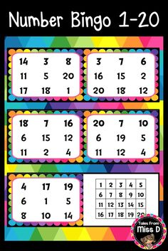 This Number Bingo game is a fun way for students to read and recognise numbers 1-20. The activity can be played in small groups or as a whole class. There are 20 student bingo boards, which have different number combinations on each. There is also a teacher page to be printed to call the numbers. Bingo boards can be laminated. Either counters or whiteboard markers will label the selected numbers. © Tales From Miss D