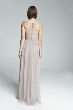 ALIKI. High neckline with illusion front bridesmaids dress shown in Latte. Available in 27 colors.