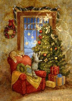 Solve Christmas Magic jigsaw puzzle online with 35 pieces Christmas Scenes, Christmas Mood, Noel Christmas, Christmas Cats, Christmas Greetings, Christmas Puzzle, Christmas Ideas, Christmas Wreaths, Vintage Christmas Images
