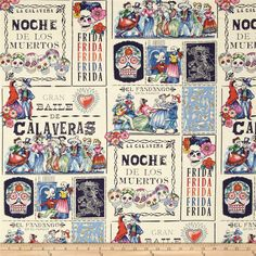 Folklorico Baile de Calaveras Teal/Marine from @fabricdotcom  Designed for Alexander Henry Fabrics, this cotton print features an abstract sugar skull motif.  Perfect for quilting, apparel and home décor accents.  Colors include navy, light blue, orange, pink, light green and ivory.