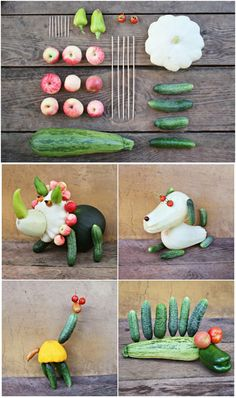 How to Make Cute Vegetable Animals. What a fun and creative way to get kids interested in eating veggies.